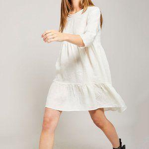 ATF All Things Fabulous Linen Cream Ruffle Dress